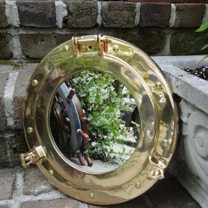 Nautical Port Hole Mirror Solid Cast Brass Ships Sea Sailing Porthole 11 Inch D