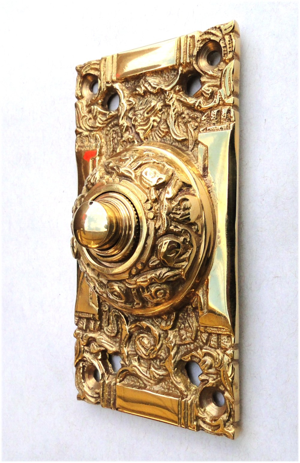 Push Button Electric Door Bell In Brass Antique Replica