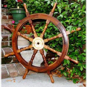 Big Ship Steering Wheel Wooden 36 Inch Antique Teak Brass Nautical Pirate Ship's