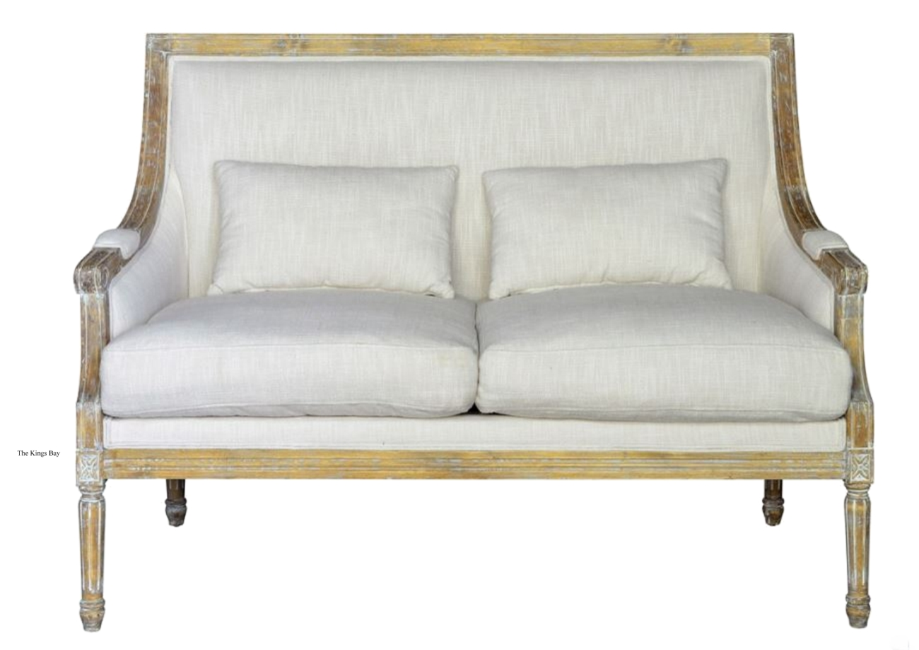 Sensational Settee Couch With Linen Cover Fabric And Aged Birch Wood Trim Theyellowbook Wood Chair Design Ideas Theyellowbookinfo