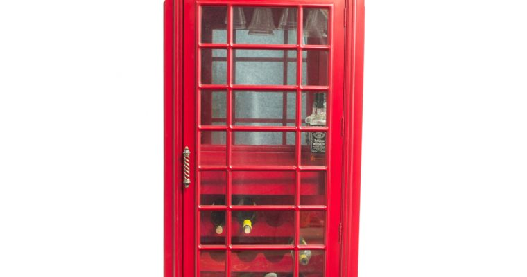 """Red British <mark class=""""searchwp-highlight"""">Phone Booth</mark> Wood Wine Bar Cabinet Old Cast Iron Looking England Box"""