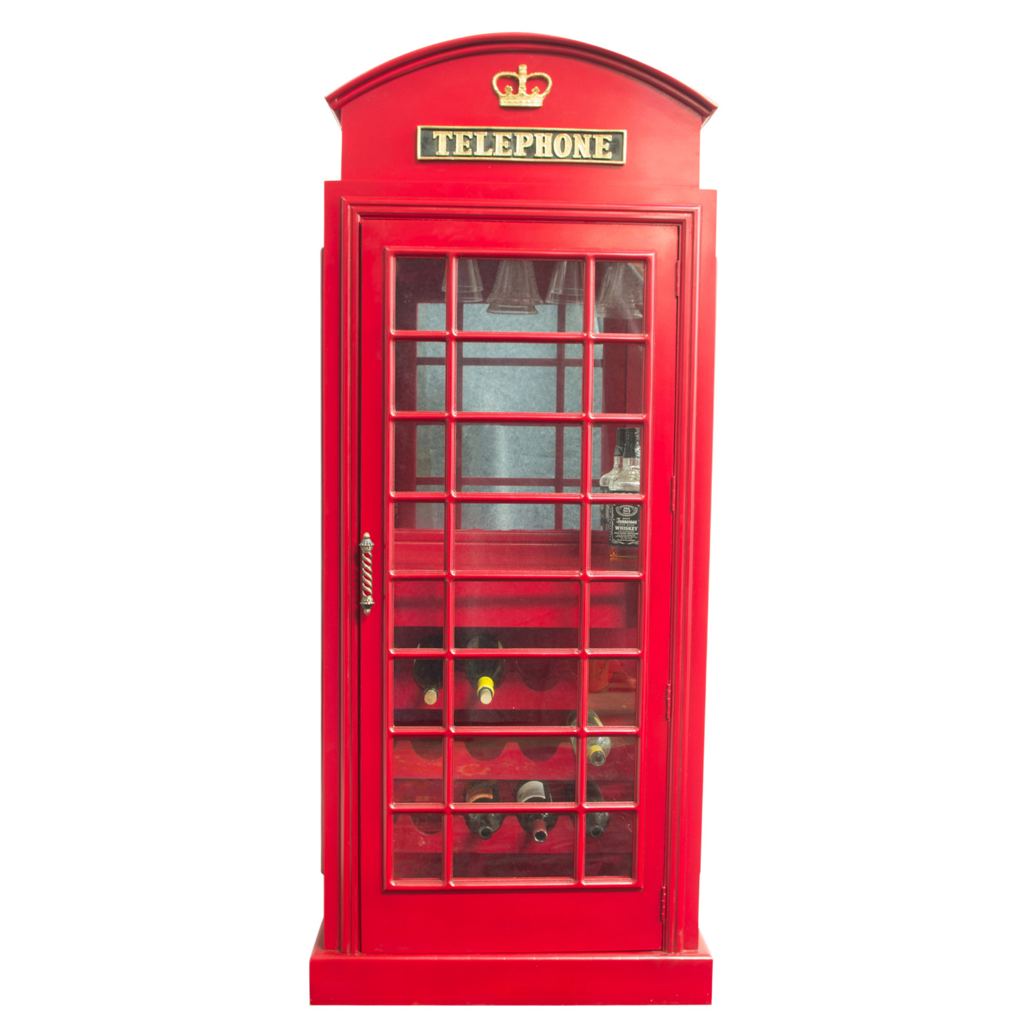 Red British Phone Booth Wood Wine Bar Cabinet Old Cast Iron Looking England Box