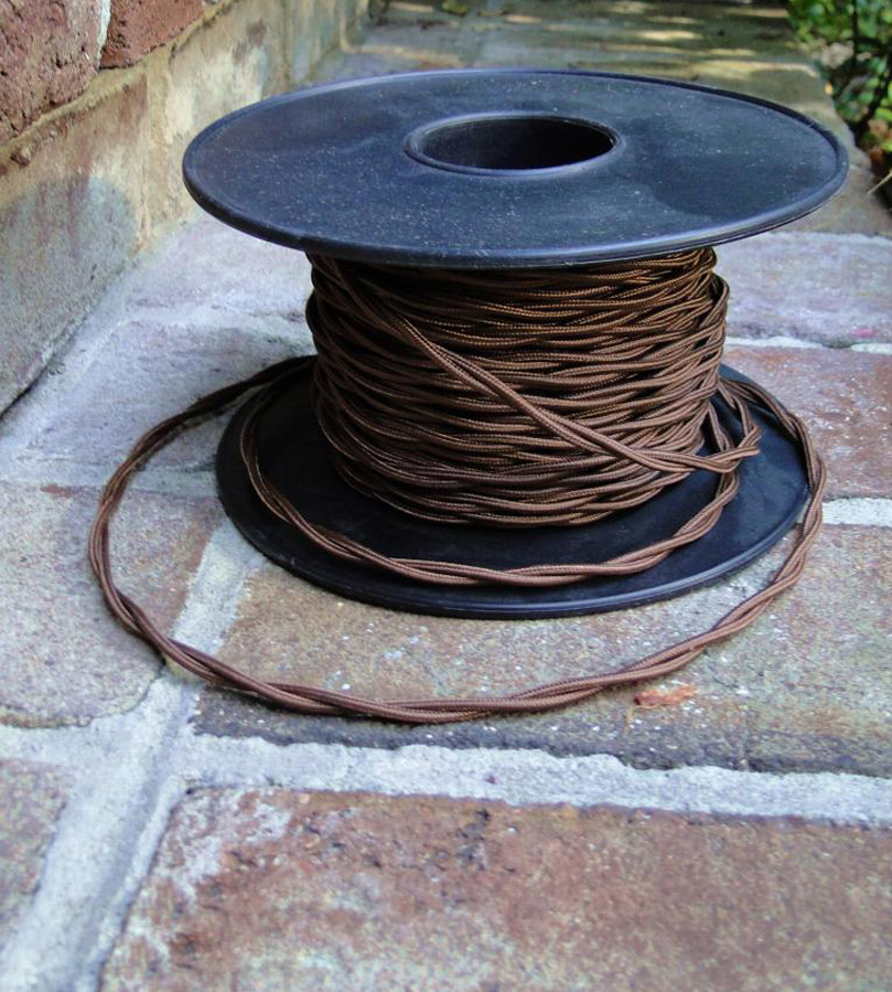 Spool of 100 Ft Twisted Brown Rayon Cloth Covered Electrical Wiring on