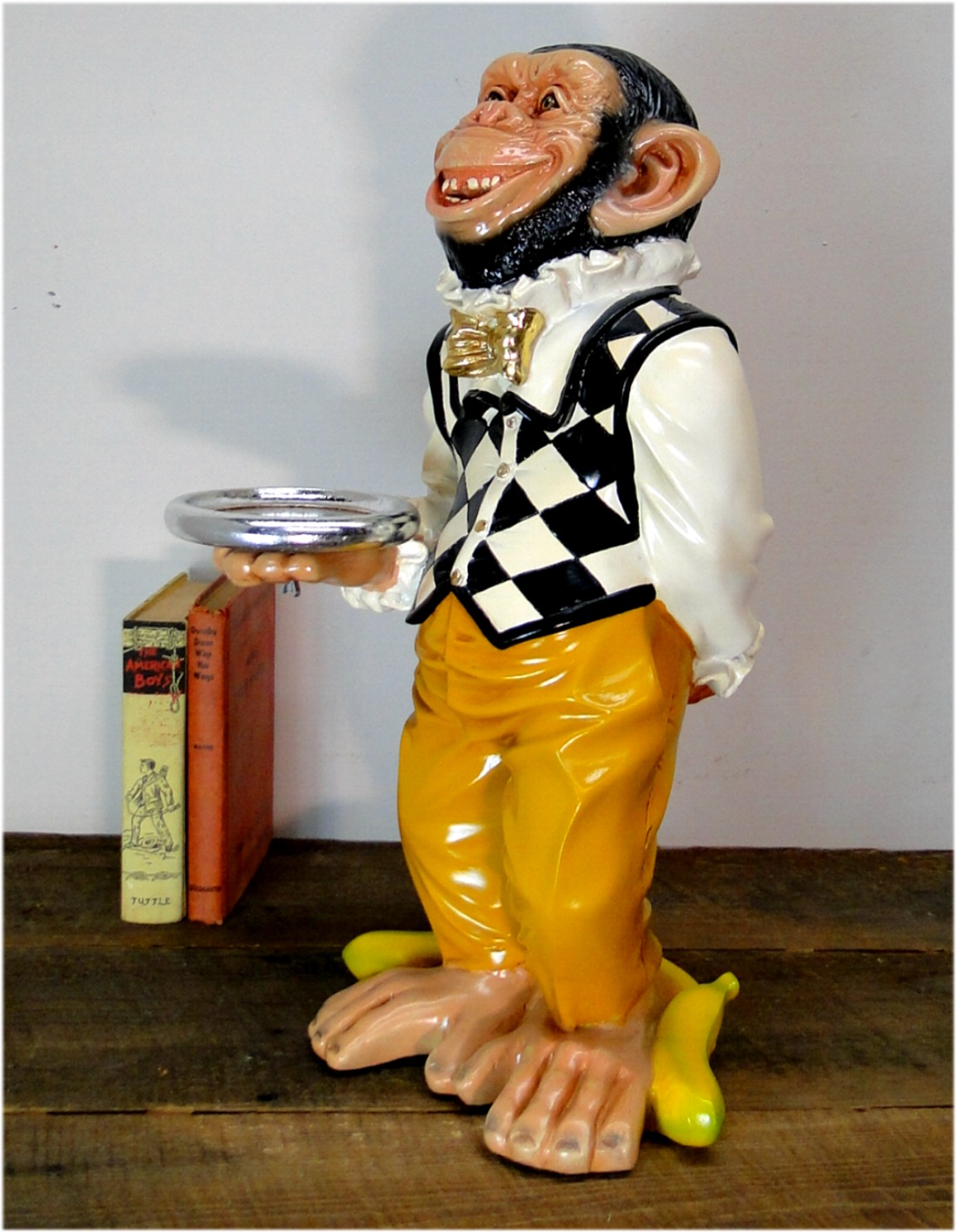 Monkey Butler Ape Statue w Silver Tray Suit Bow Tie for Bar Kitchen 2 Foot Tall
