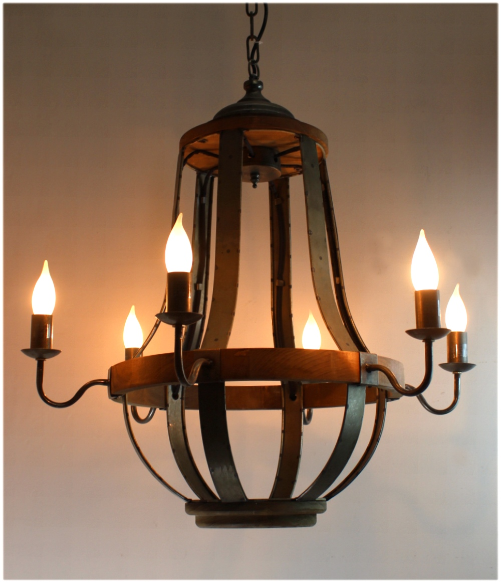 Iron Strap And Aged Wood Chandelier French Country Vintage