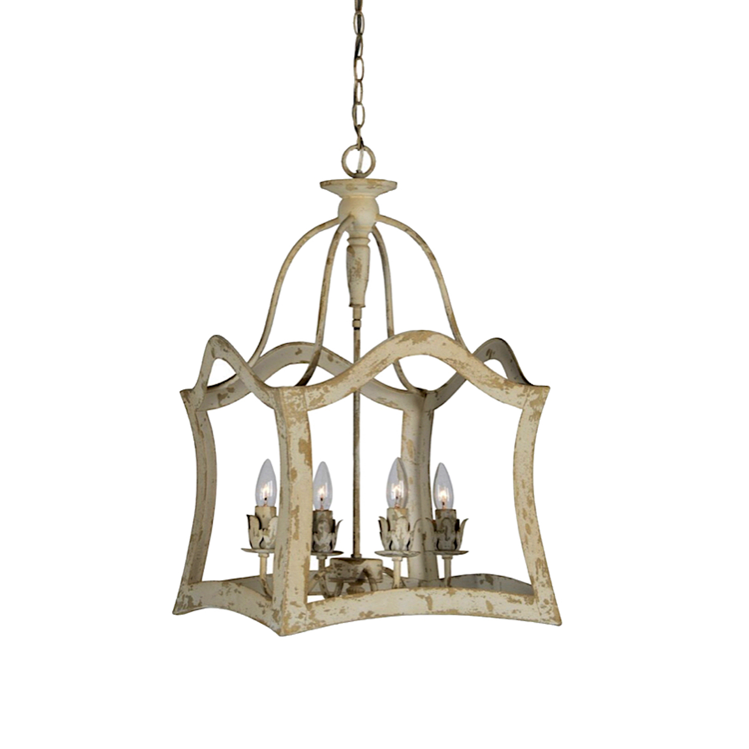 Chandelier Metal Framed Aubrey Distressed Aged Vintage Style Light Great Price
