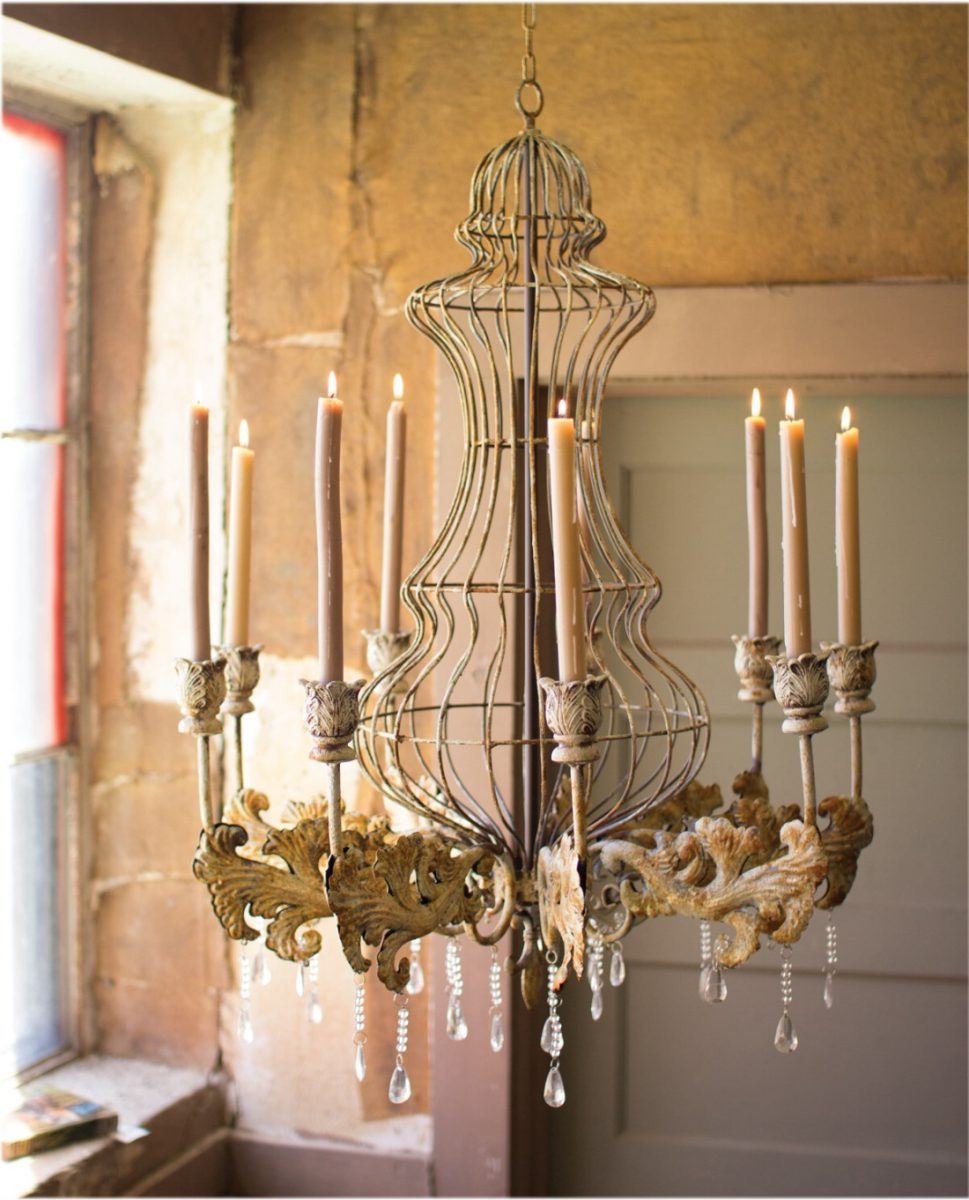 Huge Candle Rustic Tin Chandelier W Crystals For Home Or Movie Prop Old Style The Kings Bay