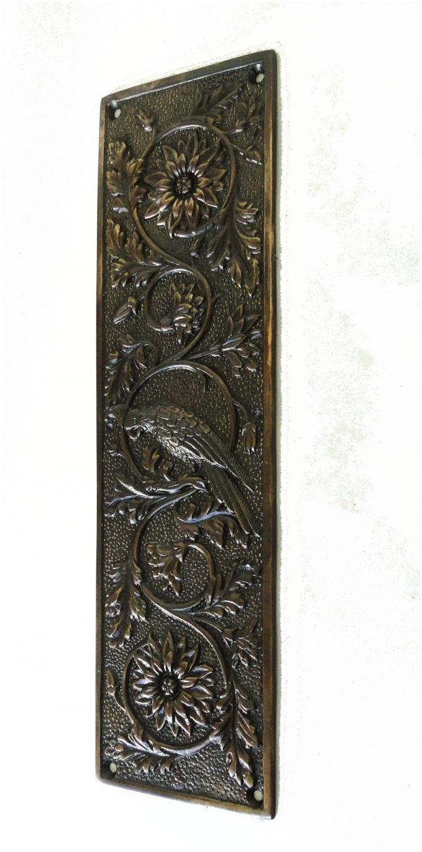 Parrot Bird Push Plate Door Hardware Vintage Restoration Replica Aged Bronze