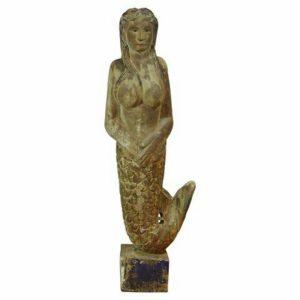 Wooden Hand Carved Mermaid Statue Folk Art Sculpture Vintage Style 5.5 Feet Tall