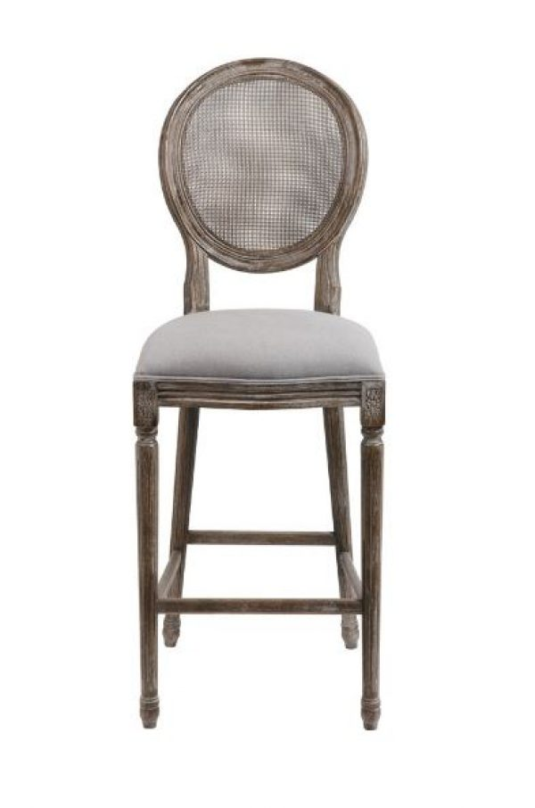 Brilliant Cane Back Bar Stools Sold As Pairs Gray Oatmeal Linen Seat And Aged Wood Ibusinesslaw Wood Chair Design Ideas Ibusinesslaworg