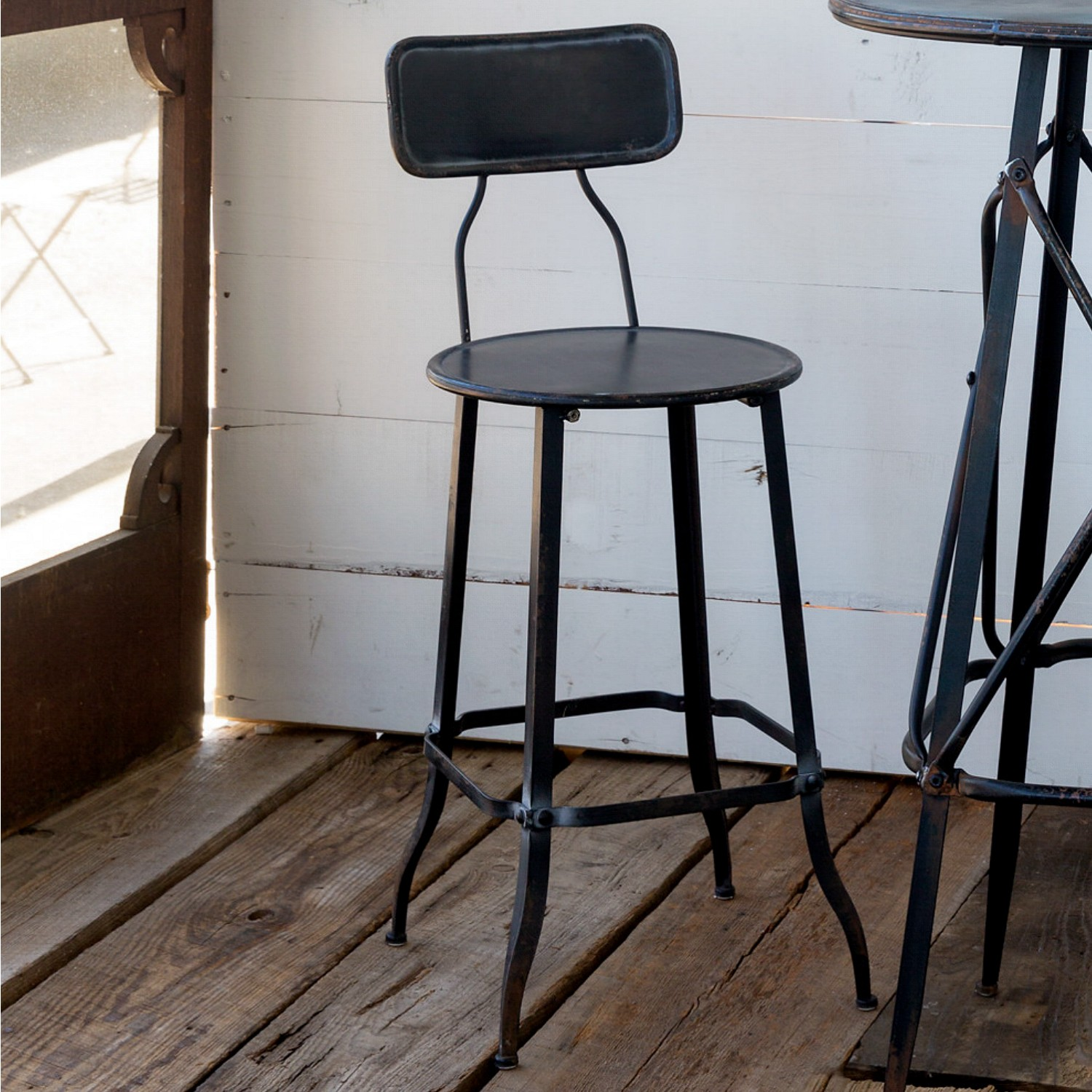 Rivet Bar Stool Aged Black Paint for Kitchen Counter Sold as Pairs