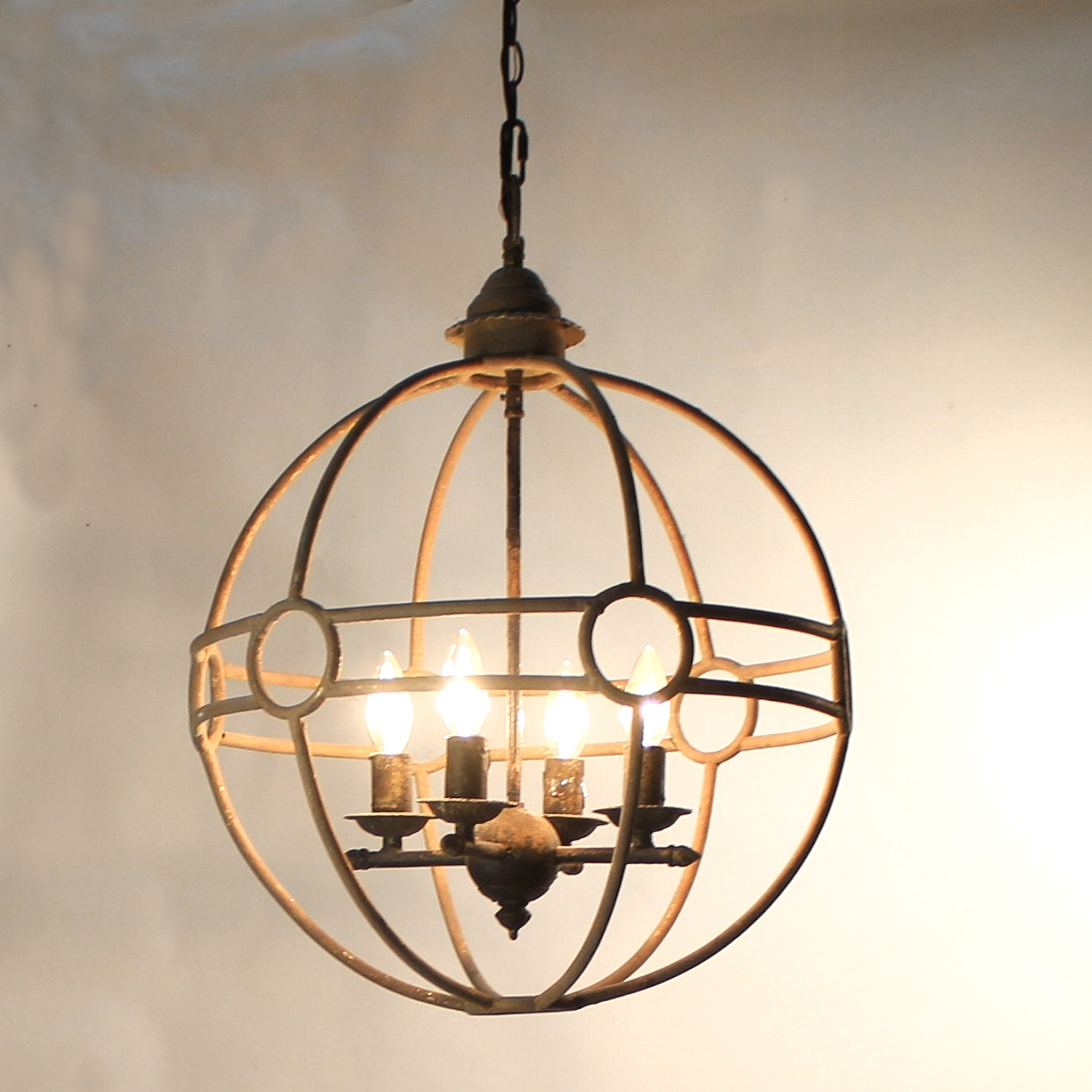 Round Chandelier Rusted Finish Artistic 4 Bulb Orb Pendant Fixture The Kings Bay