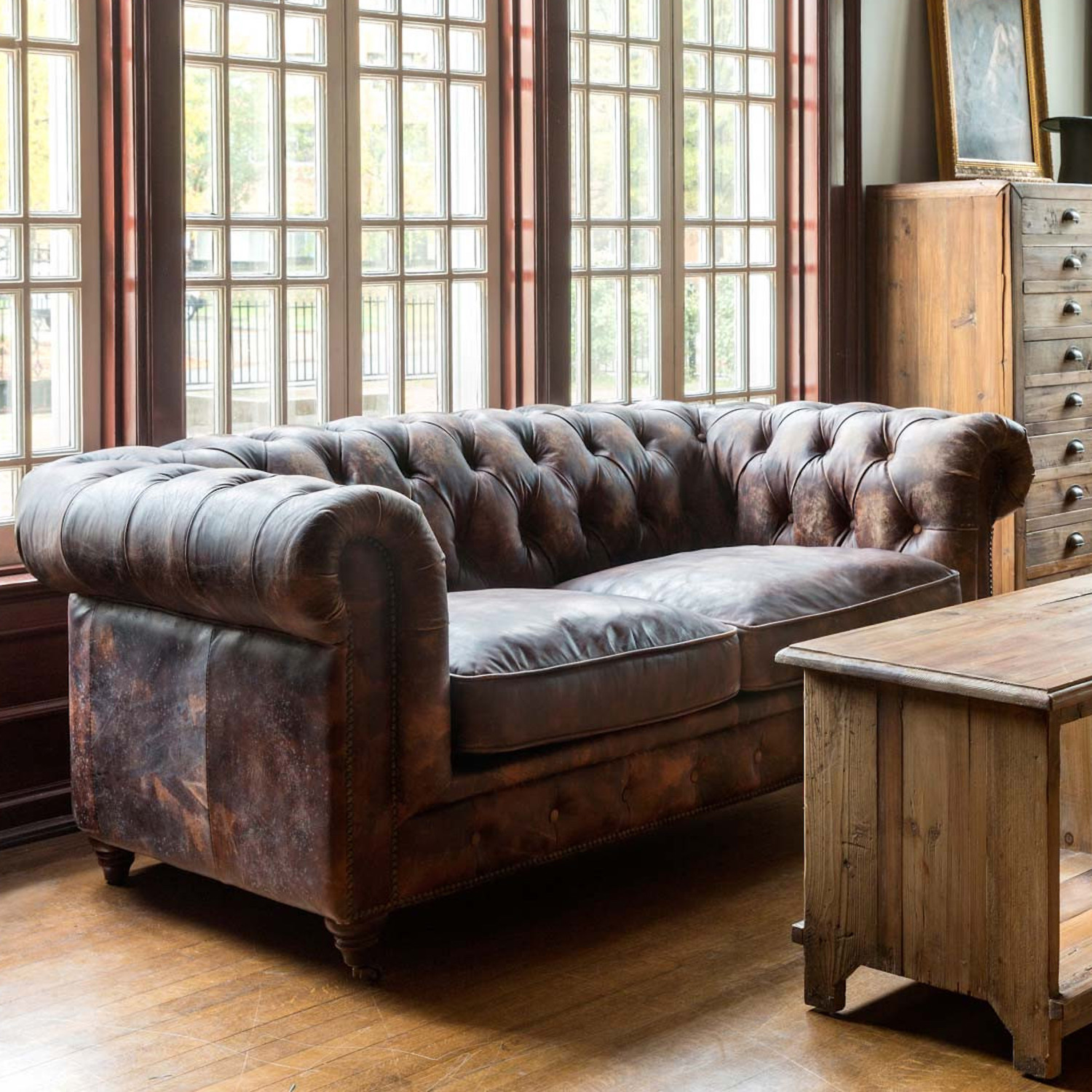 Churchill Brown Leather Club Chair Sofa With Vintage Distressed Matte Finish The Kings Bay