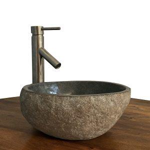 Granite Vessel Sink Stone Boulder Bathroom Counter Top Vanity Fixture SNVS14