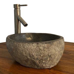 Granite Vessel Sink Stone Boulder Bathroom Counter Top Vanity Fixture SNVS16