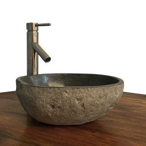Granite Vessel Sink Stone Boulder Bathroom Counter Top Vanity Fixture SNVS18