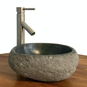 Granite Vessel Sink Stone Boulder Bathroom Counter Top Vanity Fixture SNVS19