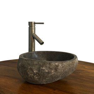 Granite Vessel Sink Stone Boulder Bathroom Counter Top Vanity Fixture SNVS13