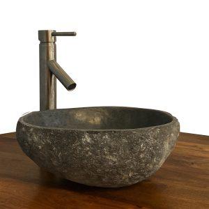 Granite Vessel Sink Stone Boulder Bathroom Counter Top Vanity Fixture SNVS17