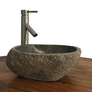 Granite Vessel Sink Stone Boulder Bathroom Counter Top Vanity Fixture SNVS15