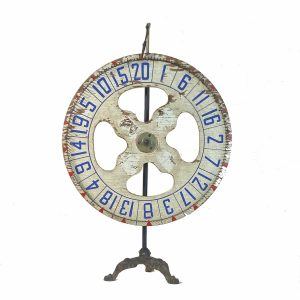 Antique Gaming Wheel Carnival Fair Gambling Rare Cast Iron Base 23 inches