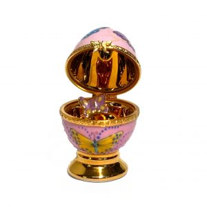 Limoges Pink Egg with Butterfly ~ France Box Rare Peint Main