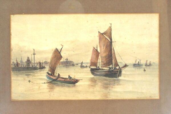 J F Branagan Yarmouth Watercolor Painting