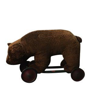 Antique Teddy Bear On Wheels 23 Inch Possibly Steiff Corduroy Mohair