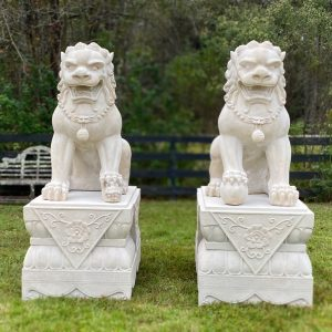 Foo Dogs Lion Statues for Imperial Mansion Palace Faux Marble Chinese HUGE