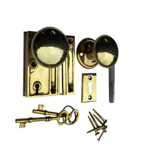 Mini Brass Rim Lock Screen Door or Bathroom Privacy Set With Knobs