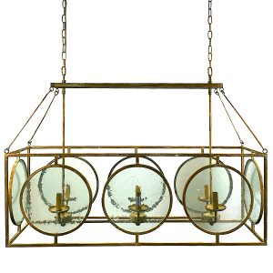Metal and Glass Faux Gold Leaf Chandelier with Adjustable Two Pan Design