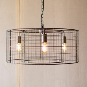 Round Double Barrel Chandelier in Mesh Wire Factory or Country Light Fixture