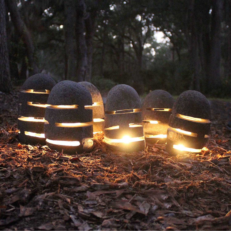 Garden Walkway Japanese Stone Lanterns 4 Pcs Landscape Lighting 8″ Tall