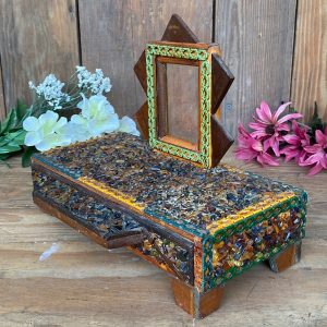 Antique Tramp Art Box With Drawer and Picture Frame Mosaic