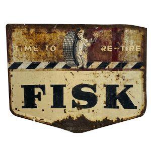 Vintage Fisk Tire Advertising Sign Embossed Steel 1940's