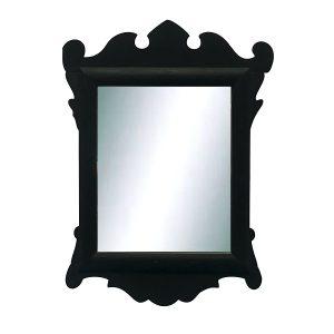 Diminutive Chippendale Antique Mirror Dark Black Green Paint