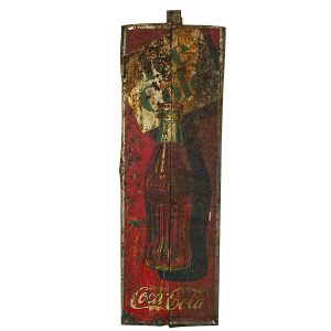 Vintage Coca-Cola Tin Advertising Sign As Found