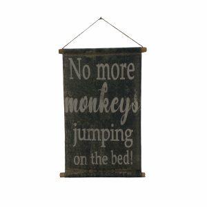 Monkey on The Bed Vintage Banner Sign