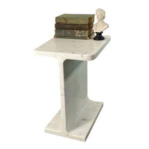 I-Beam Side Table in White Marble Hand Made