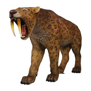 Saber Tooth Tiger Smilodon Prehistoric Dinosaur Era Cat Statue