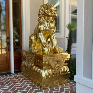 Gold Foo Dogs Lion Statues for Imperial Mansion Palace Chinese Pair on Bases