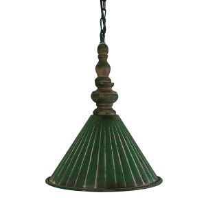 Farmhouse Country Pendant Chandelier Light Fixture in Vintage Green