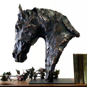Horse Head Bust Equestrian Sculpture Faux Bronze on Pillar