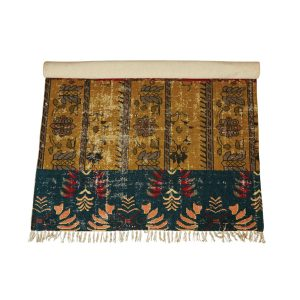 Woven Cotton Printed Rug with Distressed Multi Color 4 by 6 Vintage Style