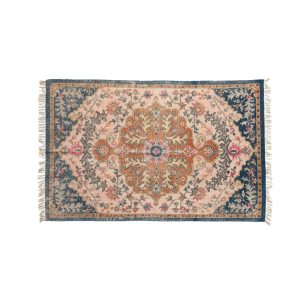 Woven Cotton Distressed Print Rug with Multi Color Design 4 by 6 Vintage Style