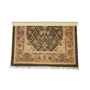 Woven Cotton Printed Rug with Sand Tone Multi Color 5 by 7 Vintage Style