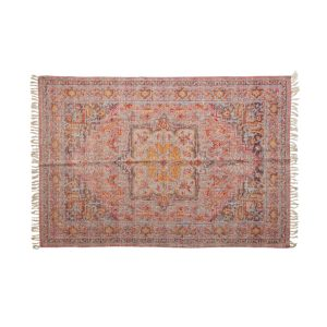 Woven Cotton Distressed Print Rug with Warm Multi Color 4 by 6 Vintage Style
