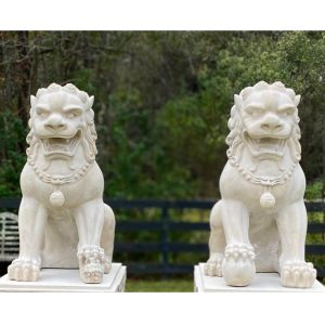 Foo Dogs Lion Statues for Imperial Mansion Palace Faux Marble Chinese Pair