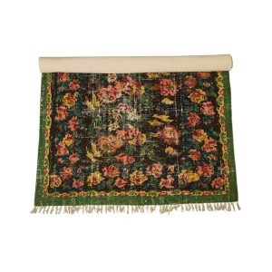 Woven Cotton Printed Rug with Green Trim and Floral 4 by 6 Vintage Style