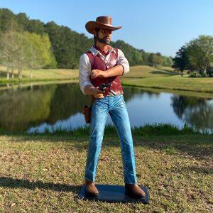 Gun Shot Life Size Statue Western American Cowboy Slinger